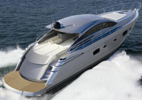 Pershing 58. The boat has a double layout: the standard has 3 cabins, ...
